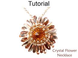 pattern crystal necklace images Beading tutorial pattern flower pendant necklace circular peyote