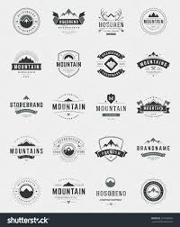 set mountains logos badges and labels vintage style design save to