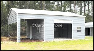 Garage With Carport Enclosed Steel Carport Garages Buildings Carport Empire