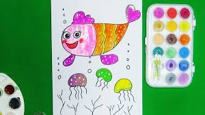 draw for kids learn colors for kids draw and color the fish