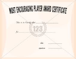most encouraging player award certificate templates certificate