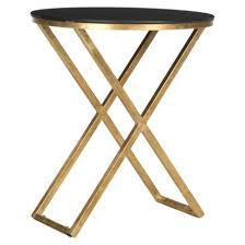 black and gold side table gold base black top accent table