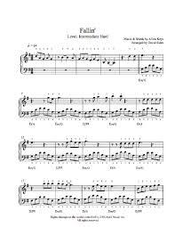 fallin u0027 by alicia keys piano sheet music intermediate level