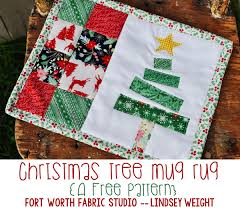 Mug Rug Designs Christmas Tree Mug Rug Free Pattern Fort Worth Fabric Studio