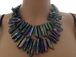 necklace natural stone images Blue iridescent natural stone necklace tradesy jpg