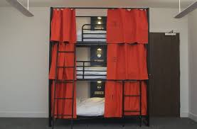 Red Curtains In Bedroom - bedroom triple bunk bed storeyed with lights and red curtains