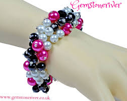 black bracelet pink images Cerise hot pink fuchsia white pearls with black diamond crystal jpg