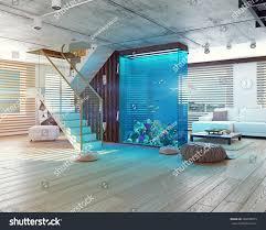modern loft interior aquarium 3d concept stock illustration
