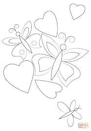 hearts and butterflies coloring page free printable coloring pages