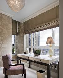 feminine executive office decor black frame wood glass window