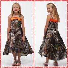 spaghetti strap a line camo flower girls dresses tea length