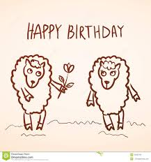 happy birthday card funny sheep and boy with stock vector