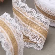 burlap and lace ribbon 10m jute burlap hessian lace ribbon roll white lace