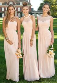 dress for bridesmaid mismatched different styles chiffon blush pink modern formal floor
