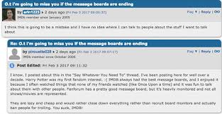 What Happened To Imdb Message Boards | r i p imdb message boards 2001 2017 movies features