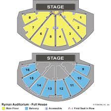 ryman seating map nashville concert tickets
