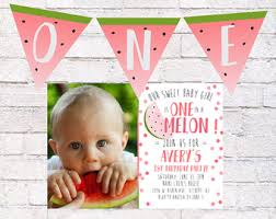 watermelon birthday invitation one in a melon first birthday