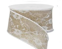jute ribbon ribbon with lace overlay burlap ribbon 2 5 w x 10 yd