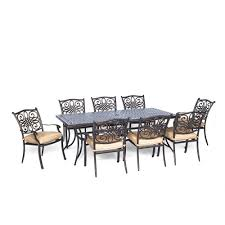 Aluminum Patio Furniture Set - hanover traditions 9 piece aluminium rectangular patio dining set