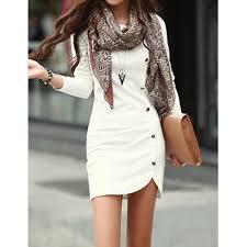 buttons design long sleeve round neck pullover women u0027s dress