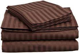 1800 Egyptian Cotton Sheets Amazon Com Italian Striped 4pc Queen Sheet Set Chocolate Home