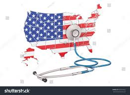 stock united healthcare usa map stethoscope national health care stock illustration