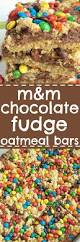 Oatmeal Bars With Chocolate Topping M U0026m Chocolate Fudge Oatmeal Bars Together As Family