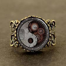aliexpress mood rings images Qiyufang rings alice in wonderland clock watch yinyang steampunk jpg