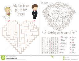 wedding activity book for kids the maze heart stock vector