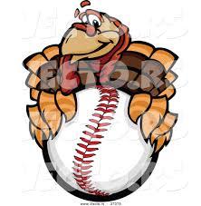 vector of a cartoon turkey mascot holding a baseball by chromaco