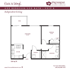 One Bedroom Floor Plans Apartment Sizes And Floor Plans For Racine Wi Primrose Retirement