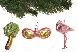 flamingo palm tree and sunglasses ornaments in a tropical