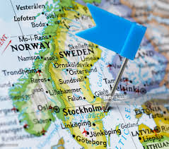 map of sweden map pin placed on stockholm sweden on map closeup stock photo