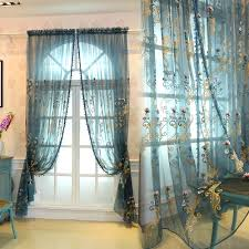 floral embroidered sheer curtains for doors and windows