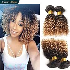 ombre weave hairitory hair 2 tone ombre curly human hair weave 3