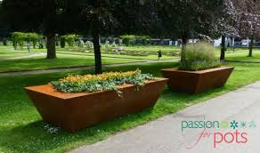 oklahoma steel tapered corten steel trough passion for pots