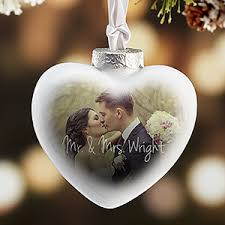 personalized wedding christmas ornaments wedding photo personalized heart christmas ornament