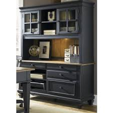 Computer Desk With Hutch Bungalow Driftwood And Black Jr Executive Credenza Hutch Free