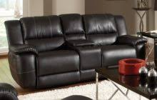 dark brown leather power reclining loveseat with cup holder and