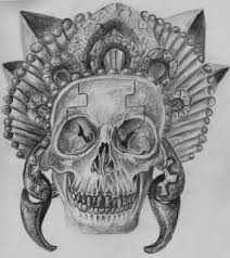 aztec tattoo card by themacrat on deviantart aztec skull tattoos