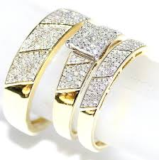 gold set for marriage his wedding rings set trio men women 10k yellow