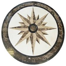 compass 36 floor medallion waterjet cut marble beautiful
