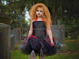 walking zombie tutu dress black red halloween costume little
