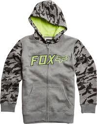 fox motocross sweatshirts fox swimwear fox galatia zip kids hoodie clothing grey fox