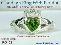 clatter ring sterling silver claddagh ring with peridot gemstone