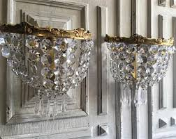 Vintage Crystal Sconces Wall Sconce Etsy