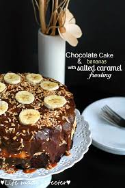 chocolate cake with bananas and salted caramel frosting