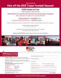 Family Day Invitation Card Salute To Troy U2013 Taf Family Day Usc Athletics