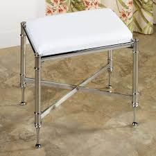 Bathroom Vanity Bench White Microfiber Bathroom Stool With Chromed Metal Frame Bathroom