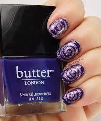 polish u0027m sugar spun plums butter london bramble swirl nail art